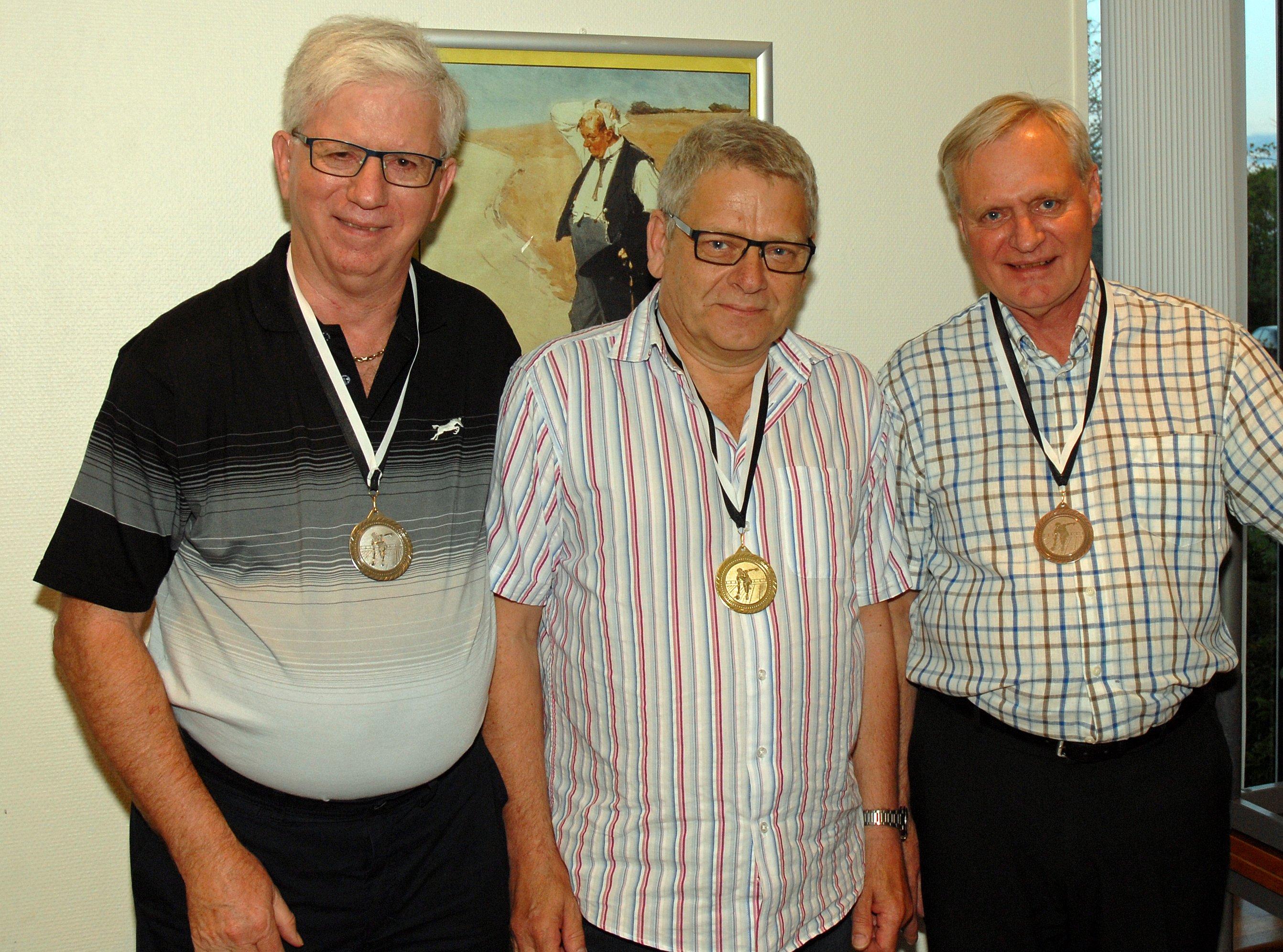 Klubmesterskab 2015. Herrer række C. Guld til Carsten Petersen, Sølv til Birger Pedersen og Bronze til Jan Berghof
