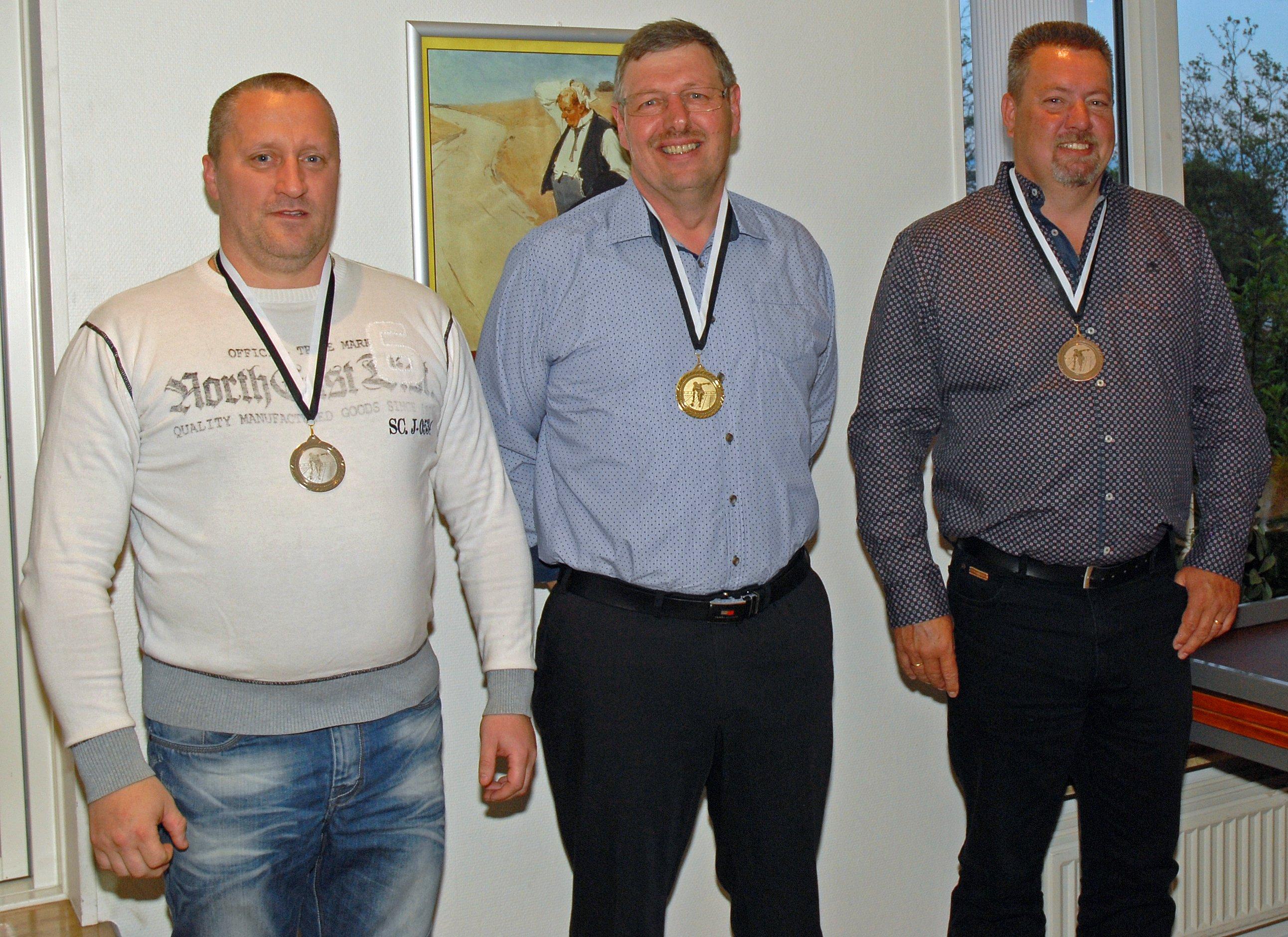 Klubmesterskab 2015. Herrer række A. Guld til Per L Sørensen, Sølv til Martin Reuther og Bronze til Klaus Hansen