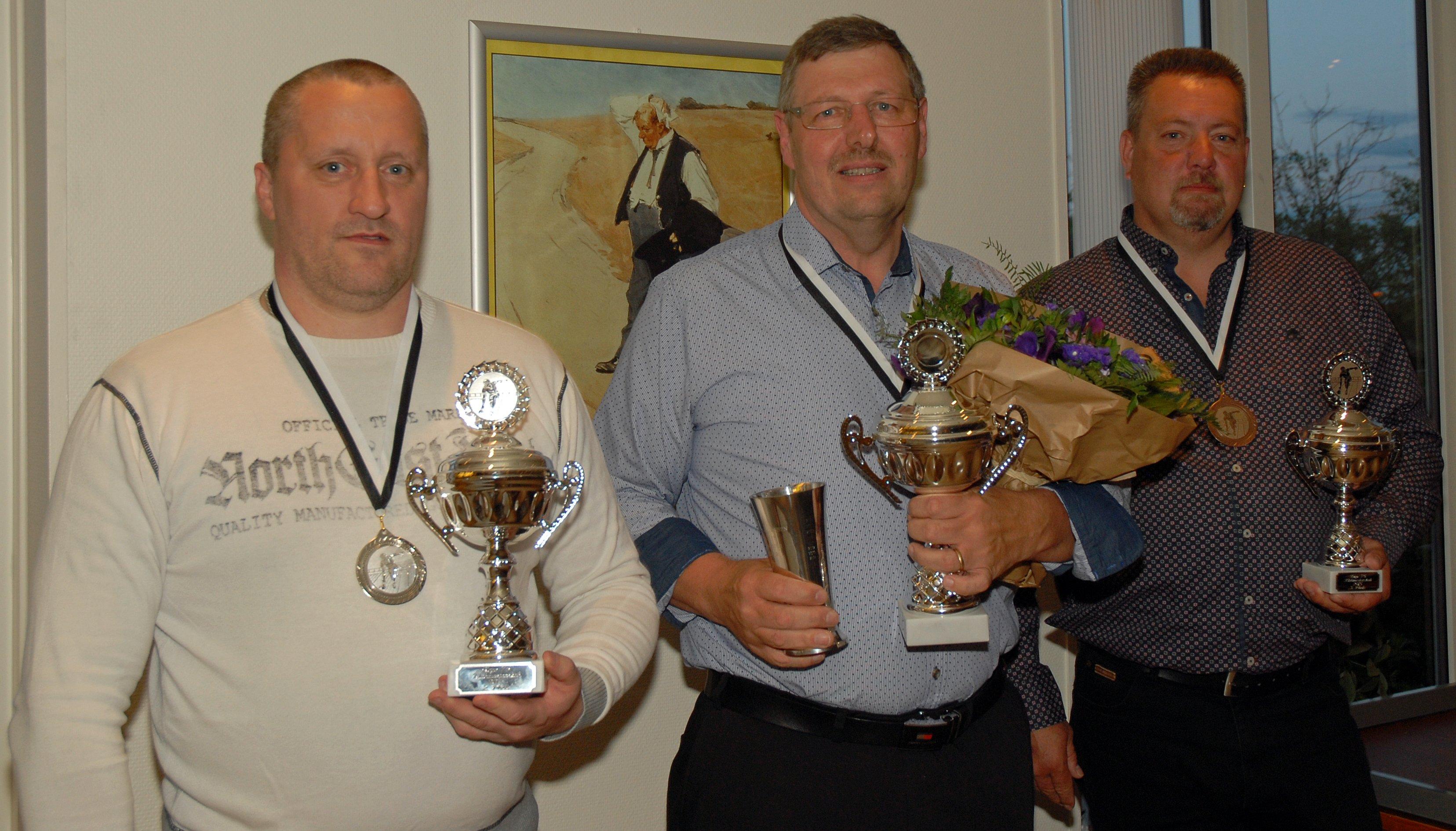 Klubmester herrer 2015. Guld til Per L Sørensen, Sølv til Martin Reuther og Bronze til Klaus Hansen